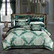 2020 Luxury Royal Bedding King Size Bed Satin Egyptian Cotton Green Set Top Hot