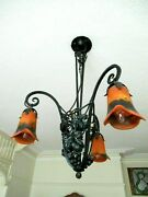 Art Deco Chandelier With Glass Shades In Style Of Nics Frères And Degué [ 5581a ]