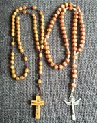 Lot Of Two Beautiful Vintage Wood Rosary Crucifixes