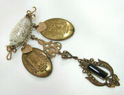 Victorian Seashell Mourning Pin With Childrens Brass Lockets - Marcasite Charm
