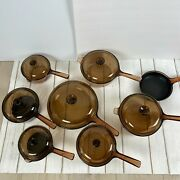 Vintage Corning Pyrex Amber Vision Ware Glass Cookware 15 Pc Set Pots And Pans