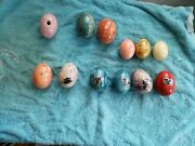 Lot Of Some Alabaster Murano Italy Stone Marble Eggs Mixed
