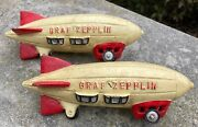 Graf Zeppelin Cast Iron Lot 2 Toy Display Moving Wheels 8.5 - Bookends