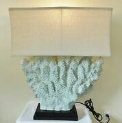 Amazing X-large Vintage Nautical Sea Foam Green Ocean Coral Table Lamp W/ Shade