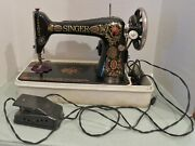 Antique Singer Sewing Machine G8560380 W/case And Foot Pedal - Working