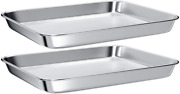 2 Pcs Stainless Steel Toaster Oven Tray Pans Small Baking Sheet Mirror Finish