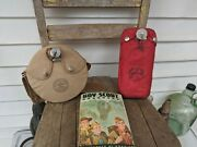 Vintage Boy Scout Lot 2 Canteens And 1970 Boy Scout Handbook