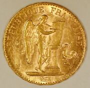 1898-a France 20 Francs Angel Or Genius Gold Coin From The Paris Mint