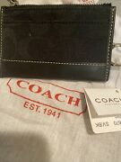 Coach Authentic Credit Card Id Mini Wallet Signature Keychain Brown