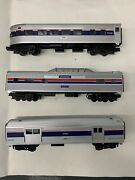 Rail King Trains O-27 Amtrak 3 Streamlined Cars By Mth