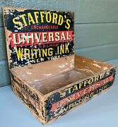 Antique Stafford's Universal Writing Ink Wood Store Display Box W/ Litho Labels