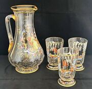 Antique Lobmeyr Crystal Enameled Hand Painted Courting Scene Ewer And Tumblers Set