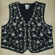 Paul Harris Designs Vest Size Xl Embroidered Beige And Gray Floral On Black Cotton