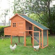 66 Large Wooden Outdoor Backyard Chicken Coop Hen Hutch Cage W/ Nesting Box