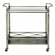 Two Tiered Metal Serving Cart With Glass Shelves And Side Rails Antique Gold