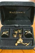 Disney Formal Wear Gold Tone Mickey Mouse Tie Tack Pin And Cuff Link Accessory Set