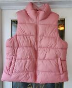 Old Navy Womenandrsquos Light Pink Salmon Quilted Puffy Zip Up Vest - Size Xl - Vgc