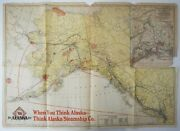 Vintage Alaska Steamship Company Map Ocean Liner Route Poole Brothers 1917
