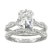 White Gold Moissanite By Charles And Colvard 9x7mm Radiant Ring Set 3.42cttw Dew