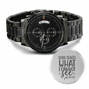 Lord Teach Engraved Bible Verse Christian Watch Multifunction Stainless Steel W