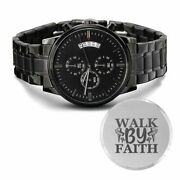 Walk By Faith Engraved Bible Verse Christian Watch Multifunction Stainless Steel