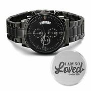 I Am So Loved Engraved Bible Verse Christian Watch Multifunction Stainless Steel