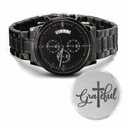 Grateful Engraved Bible Verse Christian Watch Multifunction Stainless Steel W Co