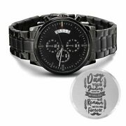 Dad's Guiding Hand Engraved Multifunction Analog Stainless Steel Chronograph Wat