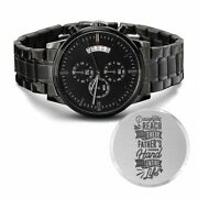 Father's Guiding Hand Engraved Multifunction Analog Stainless Steel Chronograph