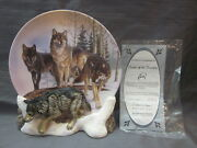 Lords Of The Tundra By Al Agnew Collectors Plate 1998 W Stand/coa Realm Of Wolf