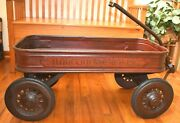 Antique Rare Metal Hibbardand039s Cruiser Toy Wagon Large With Original Red Paint