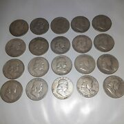Lot Of 20 Franklin Silver Half Dollars 90 Silver 1940s1950s. Us Coins
