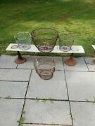 Lot Of 4 Vtg Antique Metal Wire Clam Fishing Baskets Nautical Large Med Planters