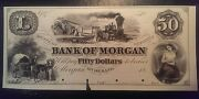 18-- 50 Bank Of Morgan Georgia Obsolete Proof Note Fifty Dollars Pm-78