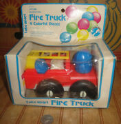 Vintage 1984 Sanitoy Nursery Needs Baby Toy Take Apart Fire Truck In Box