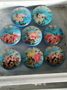 Shabby Floral Drawer Pulls Cabinet Knobs Set Of 8 - French Country Cottage Decor