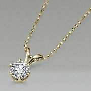 3700 Yellow Gold Solitaire Diamond Pendant Necklace 0.50 Ct 14k Si1 51623278