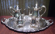 El Greco By Reed And Barton Silverplate 5 Piece Tea And Coffee Set Including Tray