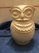 Antique All White Owl Cookie Jar 40and039s American Bisque Americana Folk Art Vintage