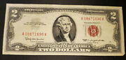 2 1963 Two Dollar Bill Us Note Red Seal Crisp A/a Block