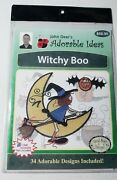 Witchy Boo Halloween - John Deer's Adorable Ideas, 34 Embroidery Designs On Cd