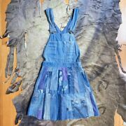 Vtg 60s Womens Lee Stanfordized Union Made Overall Hand Made Patchork Mini Dress