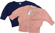 Lot 2 Womens Old Navy Cropped Button Up Cardigan Sweaters Pink And Blue Nwt Small