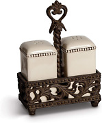 Metal Salt/pepper Shaker And With Acanthus Leaf Styled Metal Caddy