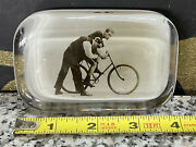 Antique Vintage Racing Bicycle Glass Advertising Paperweight