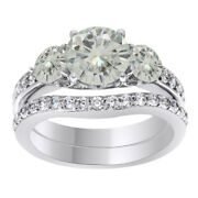 6 Ct Genuine Moissanite Bridal Set Engagement Ring In Sterling Silver