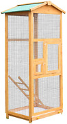 Pawhut 65 Large Wooden Vertical Outdoor Aviary Flight House Bird Cage With 2 Do