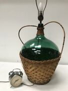 Vintage Retro Green Glass Demijohn Wicker Lamp With Shade [pl 3204 A ]