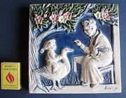 Vintage Norway Wall Plaque Tile Courage Goose Boy Girl Solveig White Blue 1996