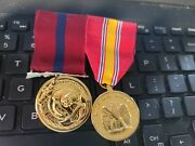 Marine Corps Good Conduct - 24k Gold Plated+ National Defence Medal On Rack